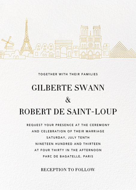 Paris Skyline View (Invitation) - White/Gold - Paperless Post - All