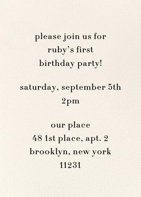 Daisy Place Birthday - Pink - kate spade new york - 1st birthday - card back