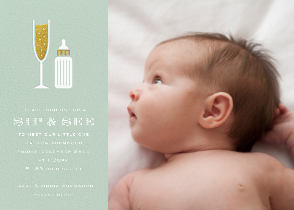 Sip & See (Photo) - Mint - Paperless Post - Baby shower