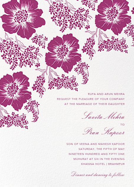 Falling Poppies II (Invitation) - Ivory/Raspberry - Oscar de la Renta - All