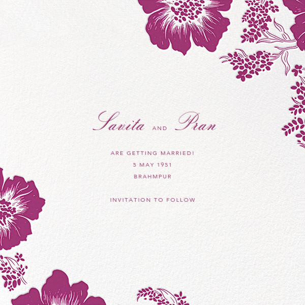 Falling Poppies II (Photo Save the Date) - Ivory/Raspberry - Oscar de la Renta - Back