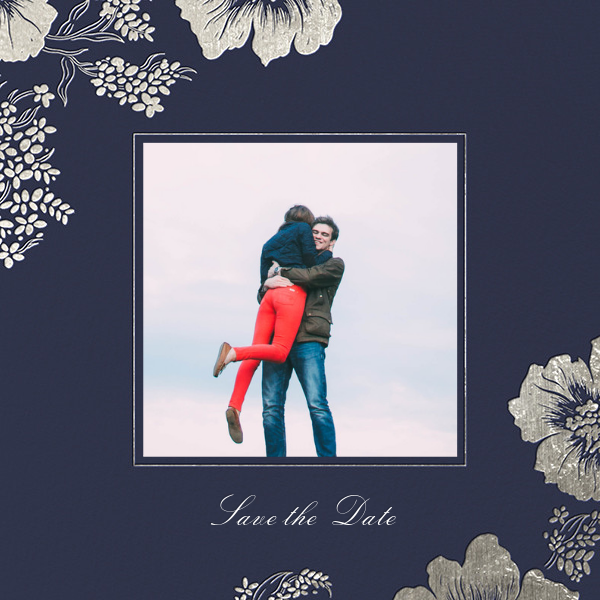 Falling Poppies II (Photo Save the Date) - Navy/Silver - Oscar de la Renta - Save the date