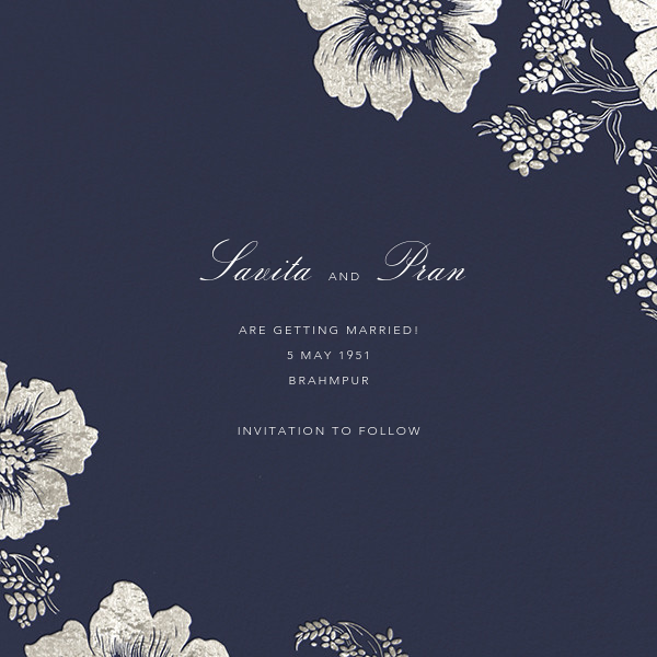 Falling Poppies II (Photo Save the Date) - Navy/Silver - Oscar de la Renta - Save the date - card back
