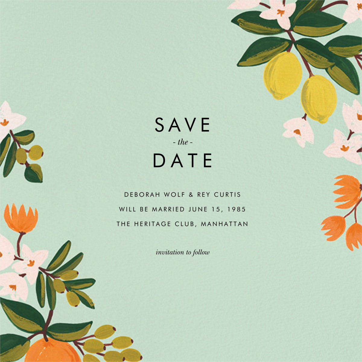 Citrus Orchard Suite (Save the Date) - Mint - Rifle Paper Co. - Save the date