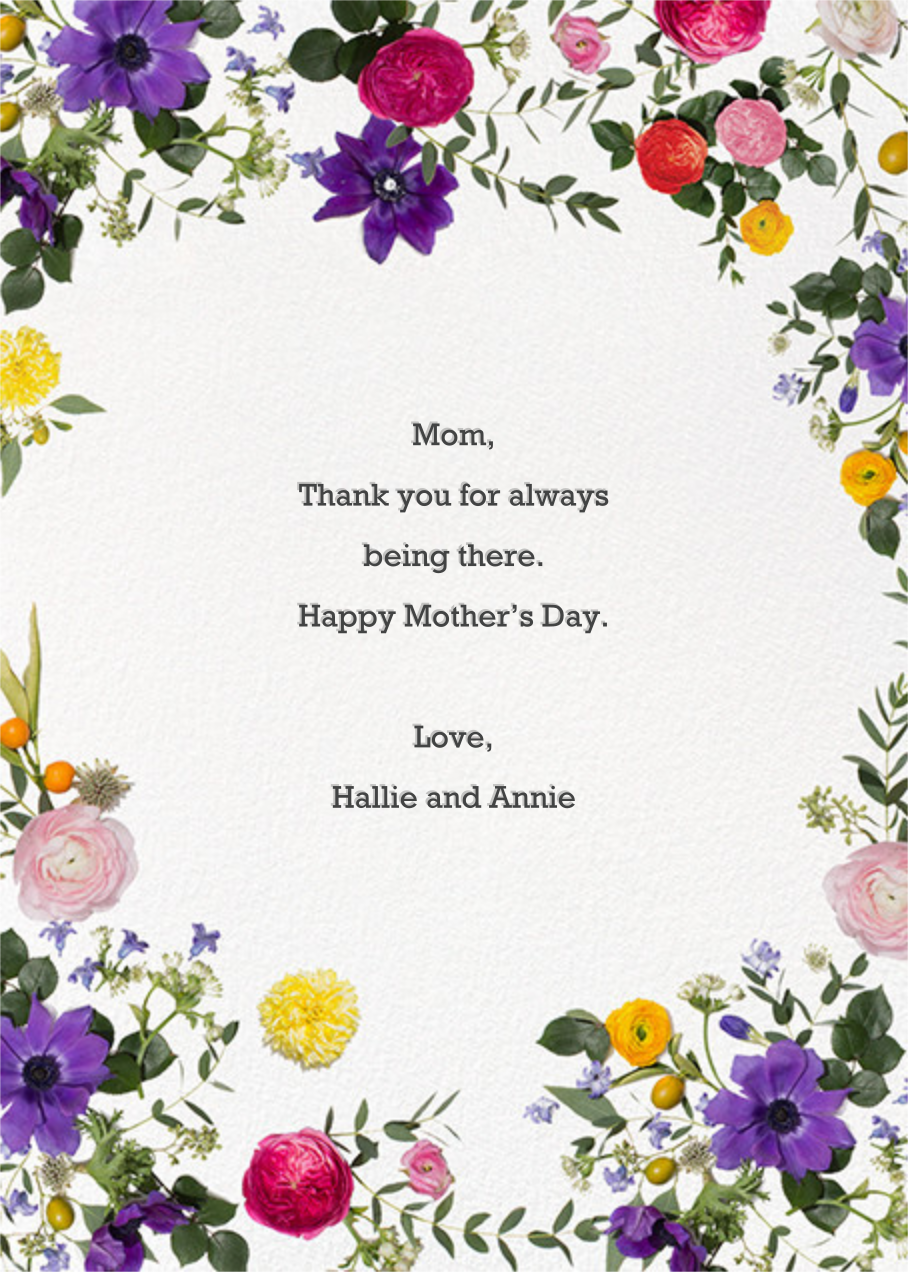 Potpourri Clippings - Paperless Post - Mother's Day - card back