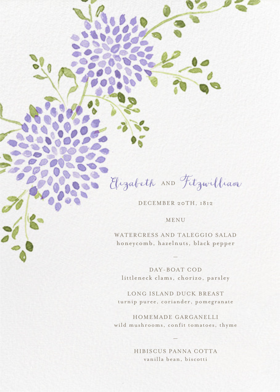 Dahlias (Menu) - Purple - Paperless Post - Menus and programs