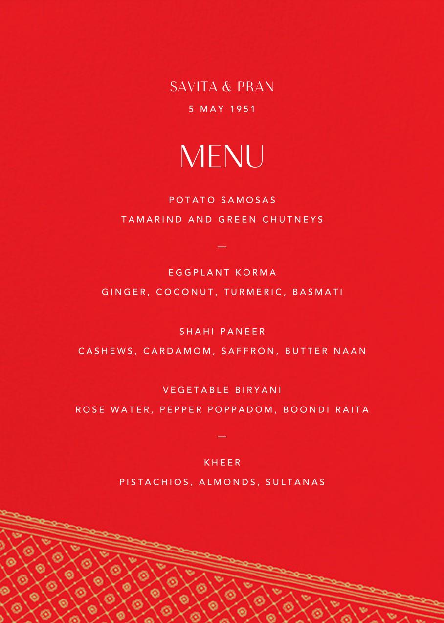 Choli (Menu) - Red - Paperless Post - Menus