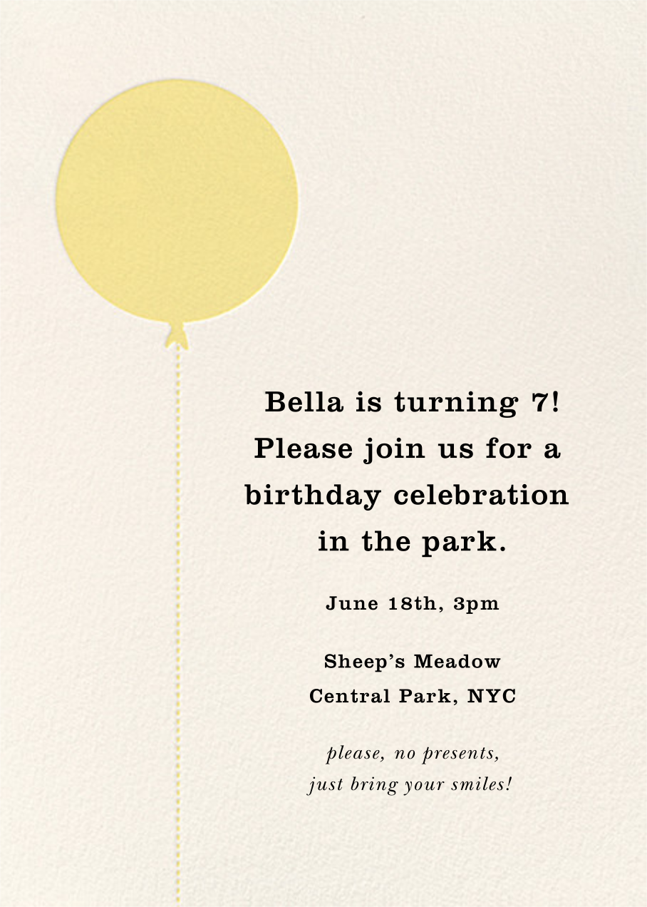 Balloon Birthday (Photo) - Yellow - kate spade new york - Kids' birthday - card back