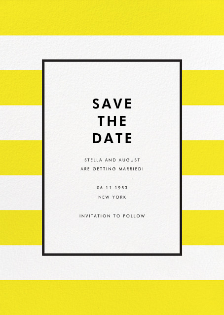 Stripe Suite (Save the Date) - Yellow - kate spade new york - Save the date