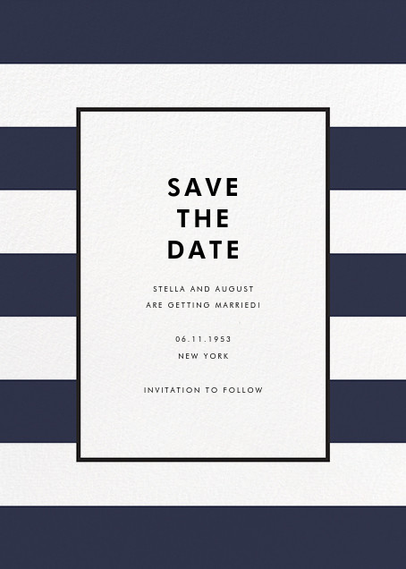Stripe Suite (Save the Date) - Navy - kate spade new york - Modern