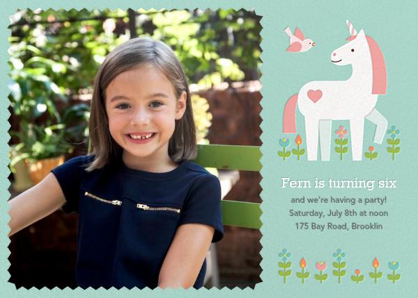 My Little Unicorn (Photo)  - Petit Collage - Unicorn invitations