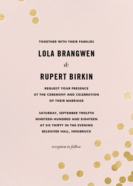 Confetti (Invitation) - Blush/Gold - kate spade new york - All