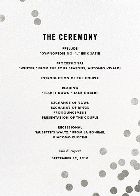 Confetti (Program) - White/Silver - kate spade new york - Menus and programs