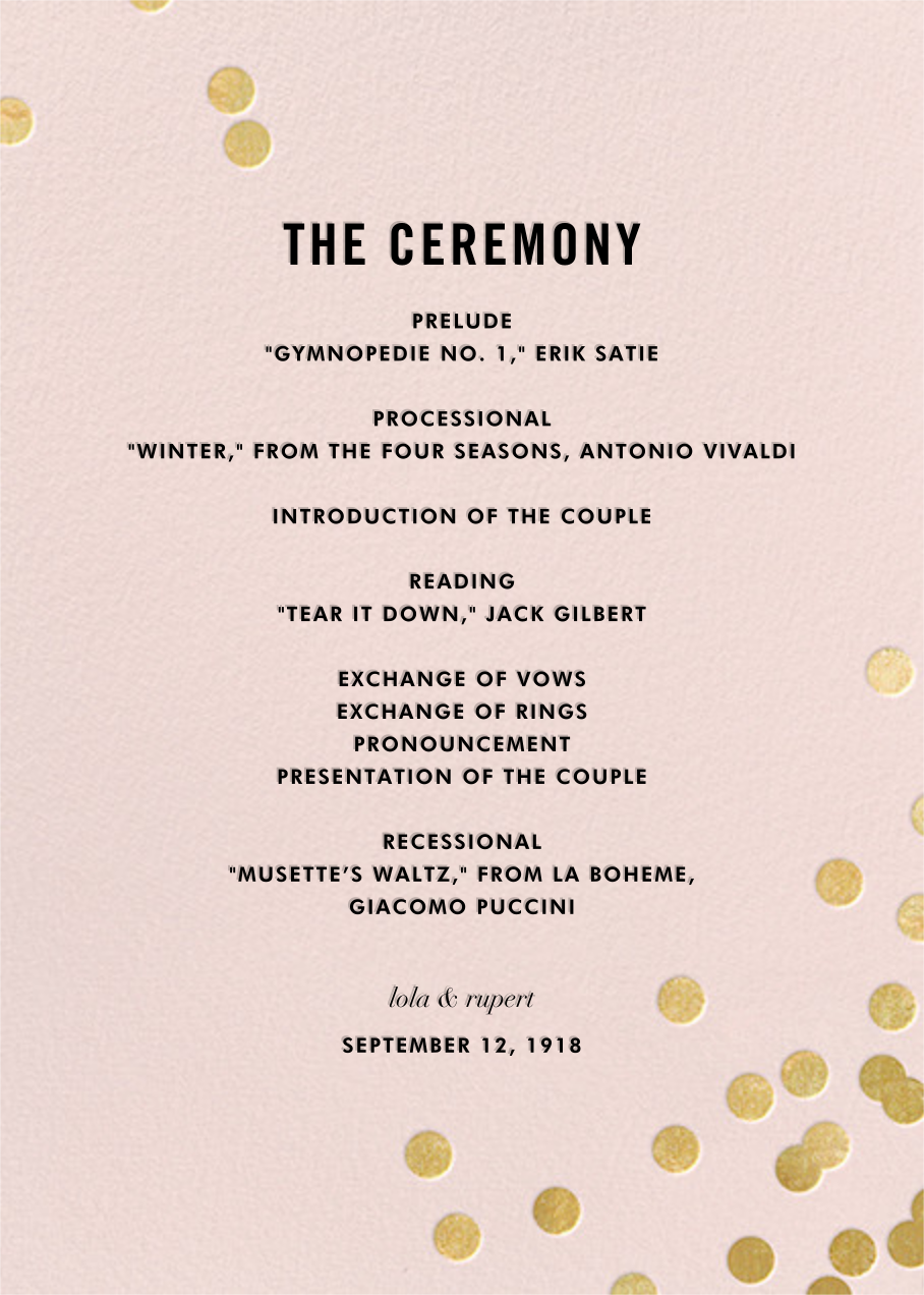 Confetti (Program) - Blush/Gold - kate spade new york - Menus and programs