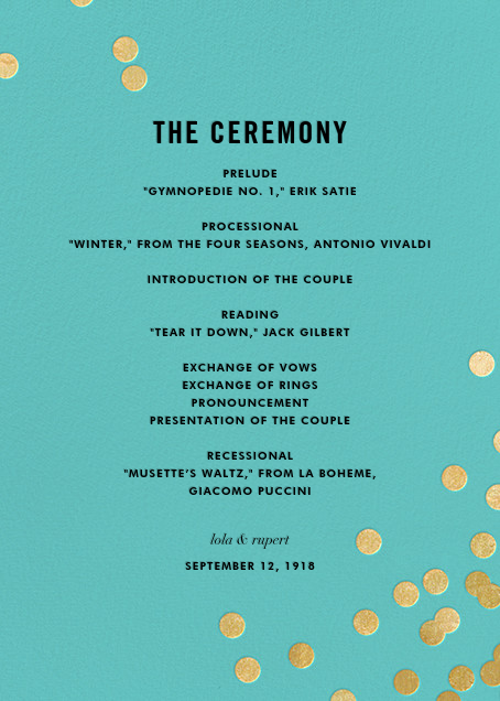 Confetti (Program) - Aqua/Gold - kate spade new york - Menus and programs