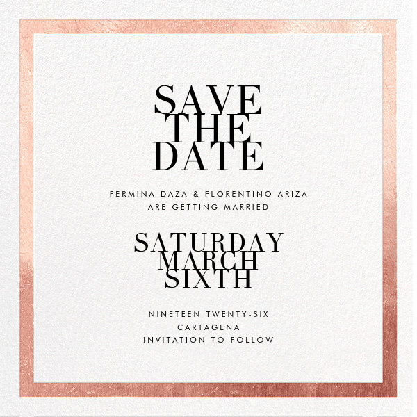 Editorial II (Save the Date) - White/Rose Gold - Paperless Post - Save the date