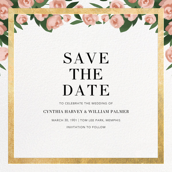 Teablossom (Save the Date) - Gold/Pink - Paperless Post - Gold and metallic