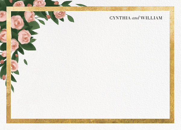 Teablossom (Stationery) - Gold/Pink - Paperless Post - Personalized stationery