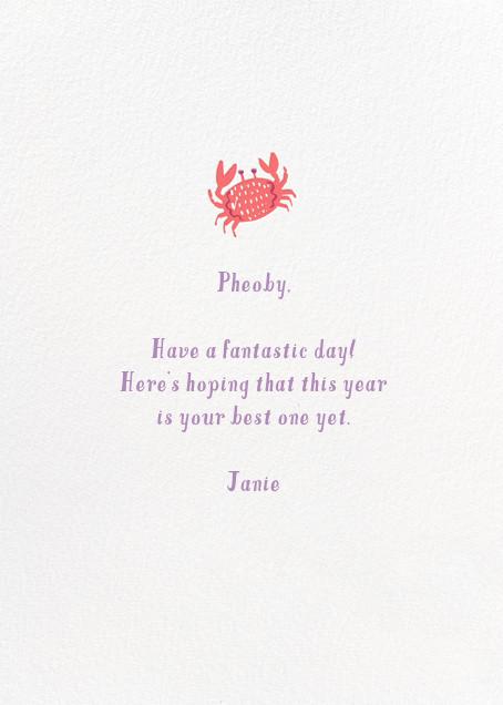 Crustacean Sensation - Hello!Lucky - Birthday - card back