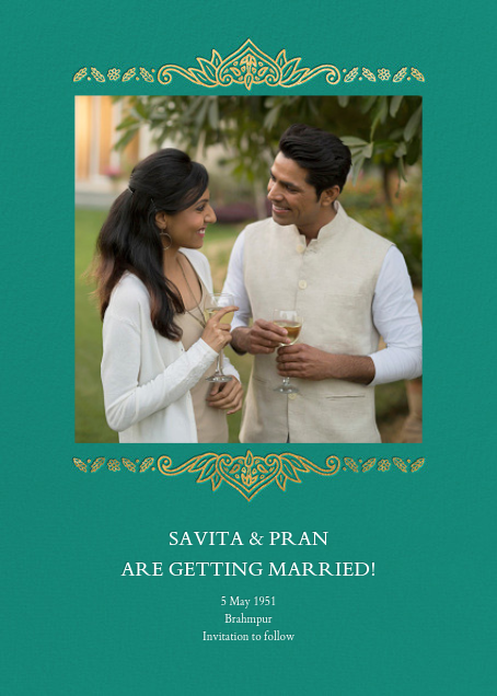 Dvaar (Photo Save the Date) - Teal - Paperless Post