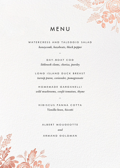 Heather and Lace (Menu) - White/Rose Gold - Rifle Paper Co. - Menus
