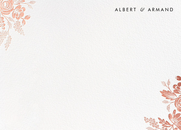 Heather and Lace (Stationery) - White/Rose Gold - Rifle Paper Co. - Personalized stationery