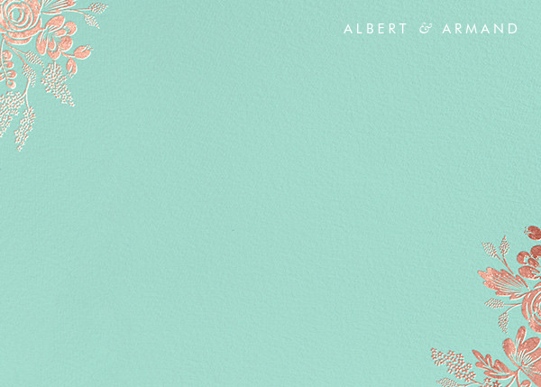 Heather and Lace (Stationery) - Celadon/Rose Gold - Rifle Paper Co. - Personalized stationery