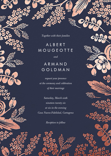 Heather and Lace (Invitation) - Navy/Rose Gold - Rifle Paper Co. - All