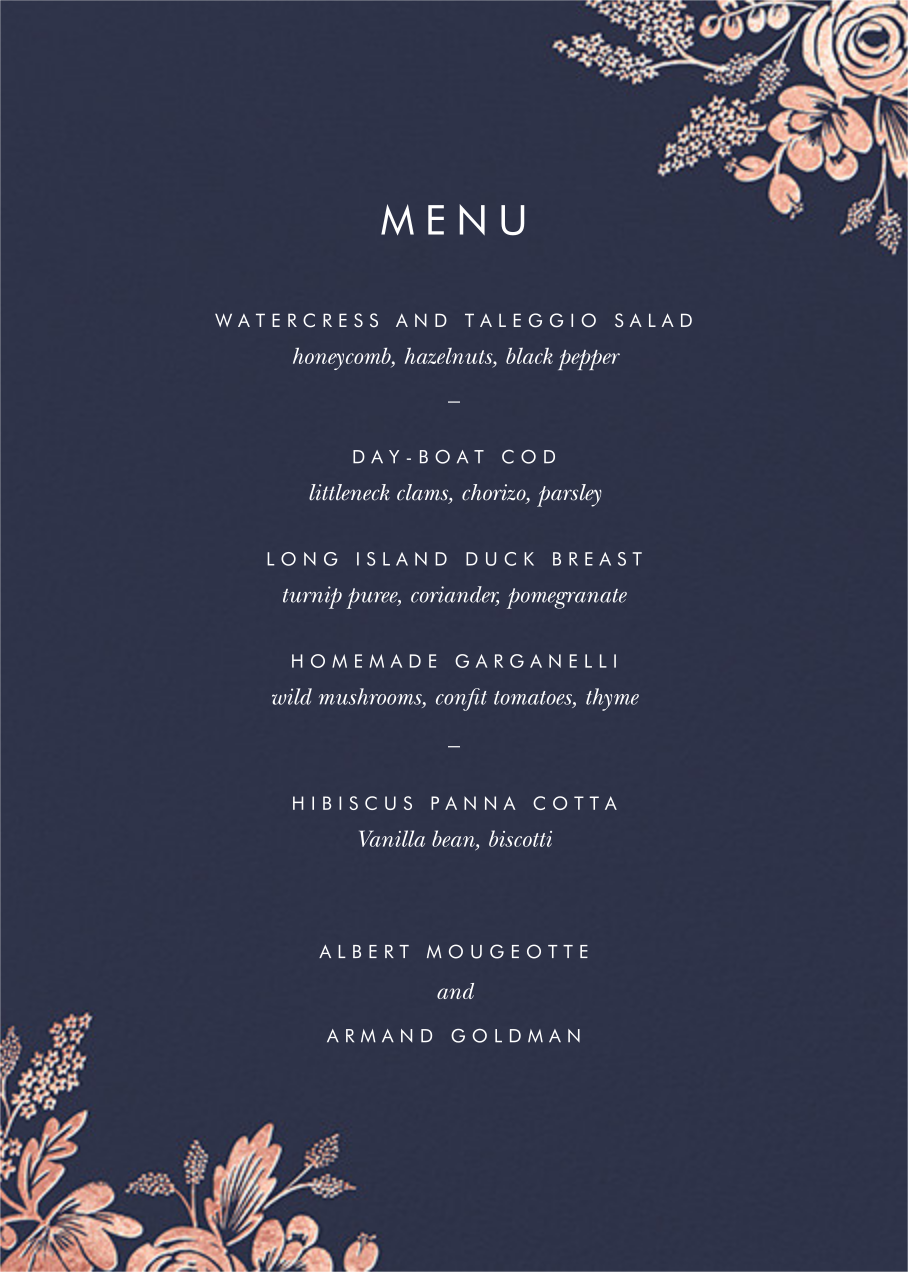 Heather and Lace (Menu) - Navy/Rose Gold - Rifle Paper Co. - Menus