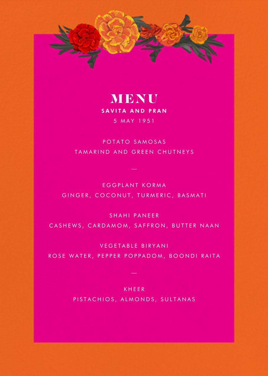 Benares (Menu) - Bright Pink - Paperless Post - Menus