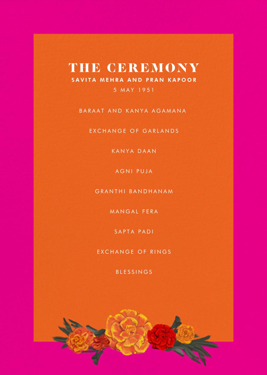 Benares (Program) - Bright Pink - Paperless Post - Menus and programs