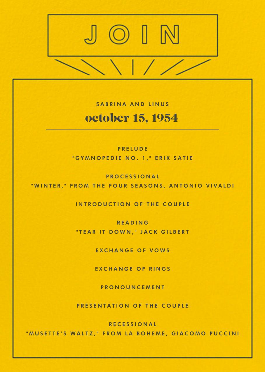 Chronology (Program) - Mustard - Paperless Post - Menus and programs