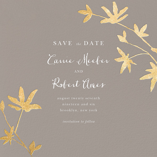 Oliver Park II (Save the Date) - Taupe/Gold - kate spade new york - Gold and metallic
