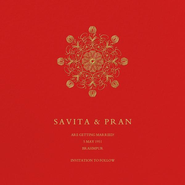 Kolam (Save the Date) - Red - Bernard Maisner - Save the date