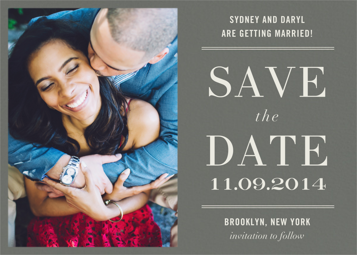 Typographic II (Photo Save the Date) - Gray - kate spade new york
