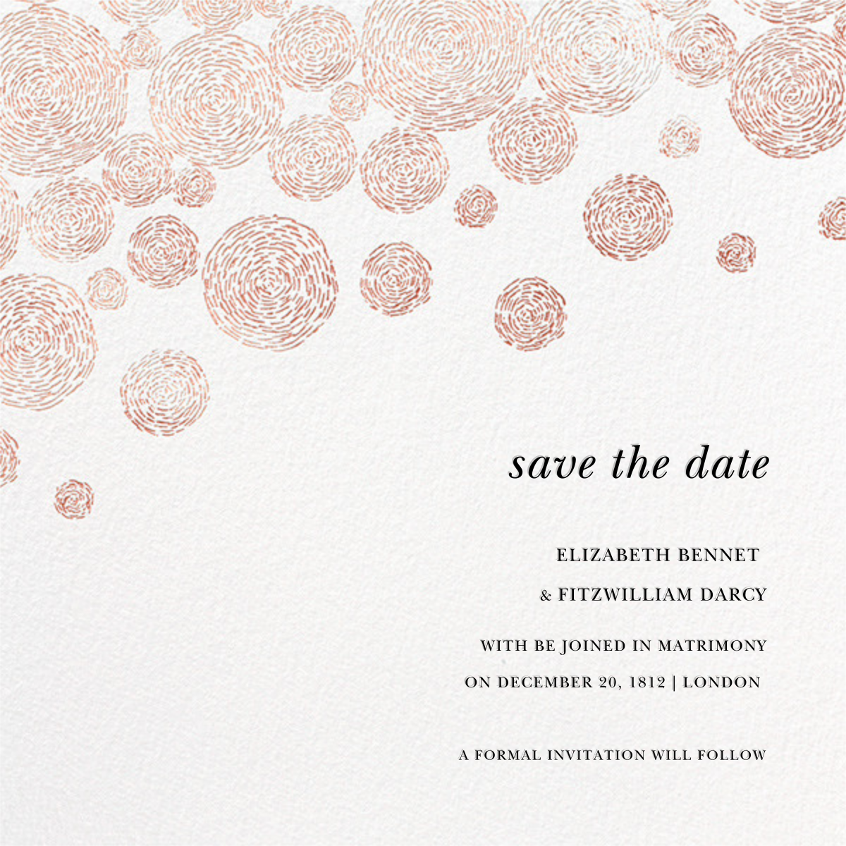 Radiant Swirls (Save the Date) - Rose Gold - Oscar de la Renta - Save the date