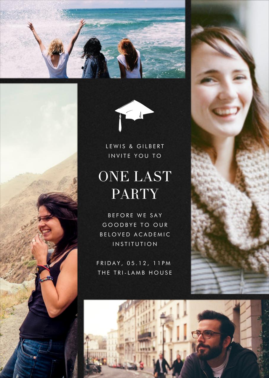Quad - Black - Paperless Post - Graduation party