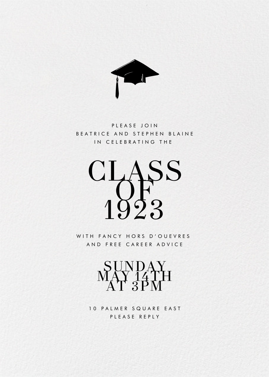 Editorial II (Photo Invitation) - White/Gold - Paperless Post - Graduation party - card back