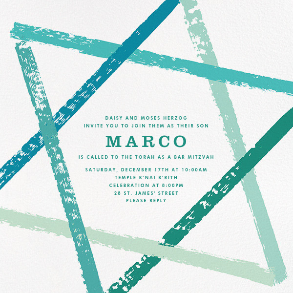 Brushstroke Star - Teal - Paperless Post - Bar and bat mitzvah