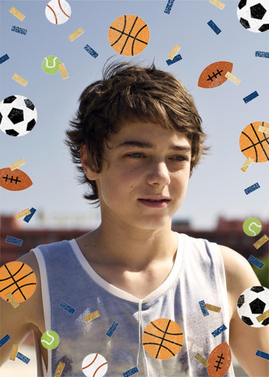 Sportsfetti (Photo) - Black - Paperless Post - Kids' birthday