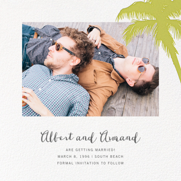 Tropical Palm (Photo Save the Date) - Chartreuse - Paperless Post