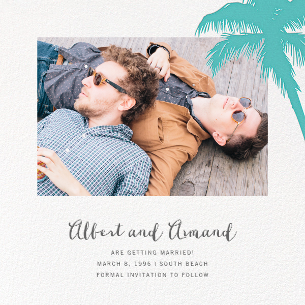 Tropical Palm (Photo Save the Date) - Lagoon - Paperless Post