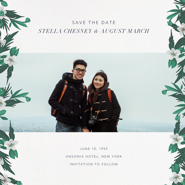 Snowrose Hedge (Photo Save the Date) - White - Paperless Post - Photo