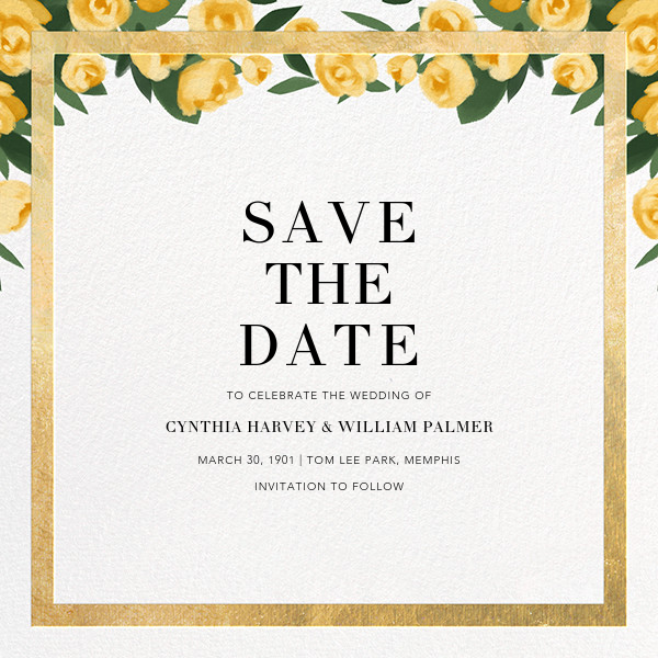 Teablossom (Save the Date) - Gold/Yellow - Paperless Post - Save the date