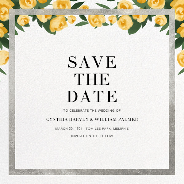 Teablossom (Save the Date) - Silver/Yellow - Paperless Post - Save the date