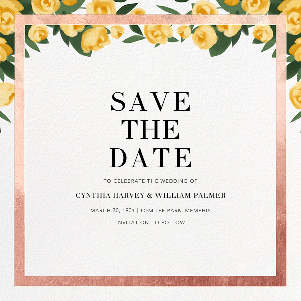 Teablossom (Save the Date) - Rose Gold/Yellow - Paperless Post - Save the date
