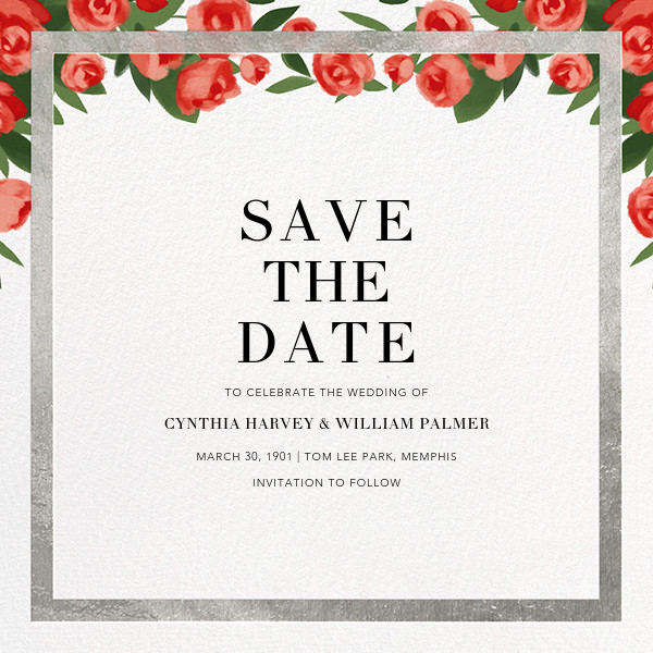 Teablossom (Save the Date) - Silver/Red - Paperless Post - Save the date