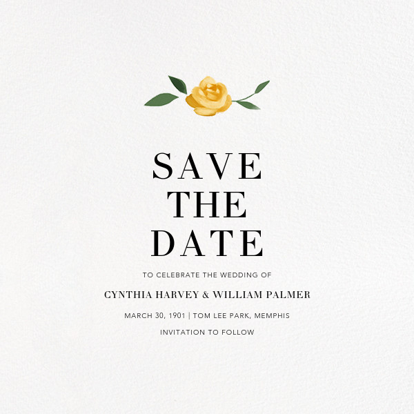 Teablossom (Photo Save the Date) - Silver/Yellow - Paperless Post - Photo  - card back