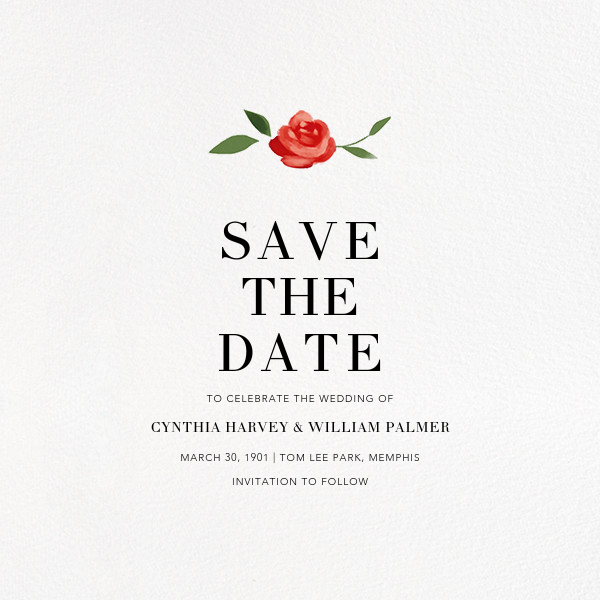 Teablossom (Photo Save the Date) - Silver/Red - Paperless Post - Photo  - card back