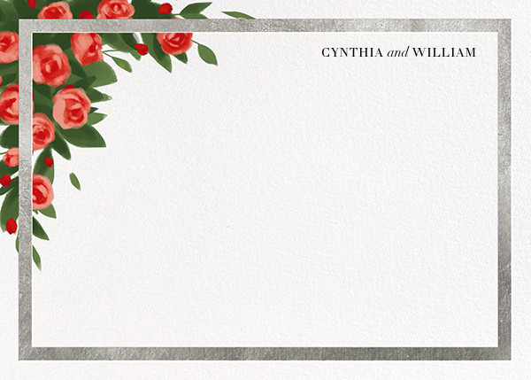 Teablossom (Stationery) - Silver/Red - Paperless Post - Personalized stationery
